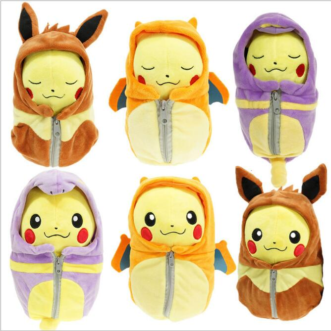 1pcs 20cm Sleeping Bag Pikachu Plush Pikachu Cosplay Charizard Eevee Ekans Sleeping Bag Stuffed Plush Toys for Kids