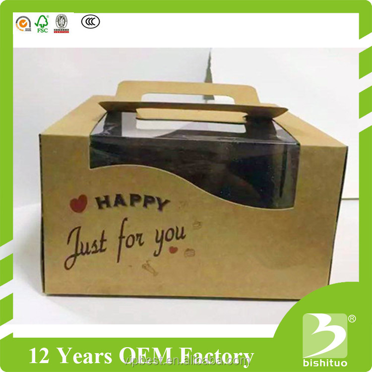 Wholesale Custom Kraft Paper Cake Packaging Cake Box with Clear Window