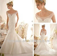 Elegant Design Scoop Heavy Beading Off The Shoulder Custom Made Mermaid Bling Wedding Dress 2014