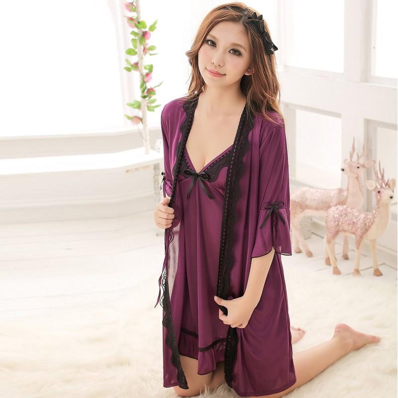 99f86fa86ab3b75 Женская благородный фиолетовый шелк длинная юбка халат ночная рубашка  комплект Sexy Babydoll телесного цвета ночное белье