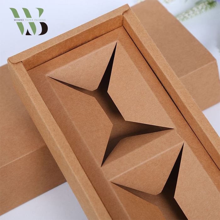 Gold Stamping Brown Kraft Paper Box with Insert for Tea