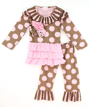 New Fashion Kids Clothing Set With Polka Dot Top And Ruffle Pants Cute Child Suits Adorable Kids Clothes Z-CS80726-(3)