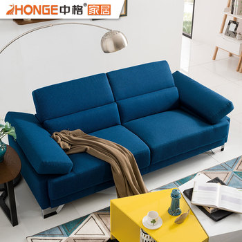 Modern Design Apartment Furniture 2 Seater Fabric Corner Navy Blue ...