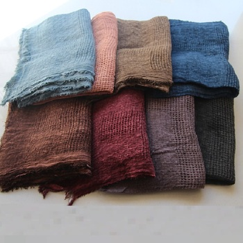 SZPLH 8 Colors Solid Hollow Cotton Linen Scarf for Women and Men
