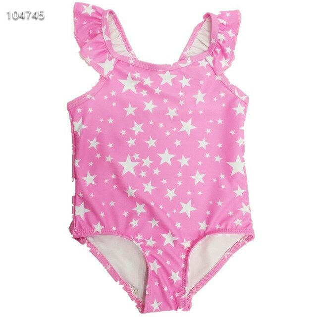 2019 Europe and the United States new 1~7 years old children's clothing girls blue ruffled star pattern swimsuit children's swim