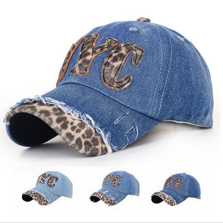 80c292ea5c9 Get Quotations · Hot Leopard NYC Letter Blue Denim Hats For Women Casual  Cotton Summer Sun Hats Adjustable Outdoor
