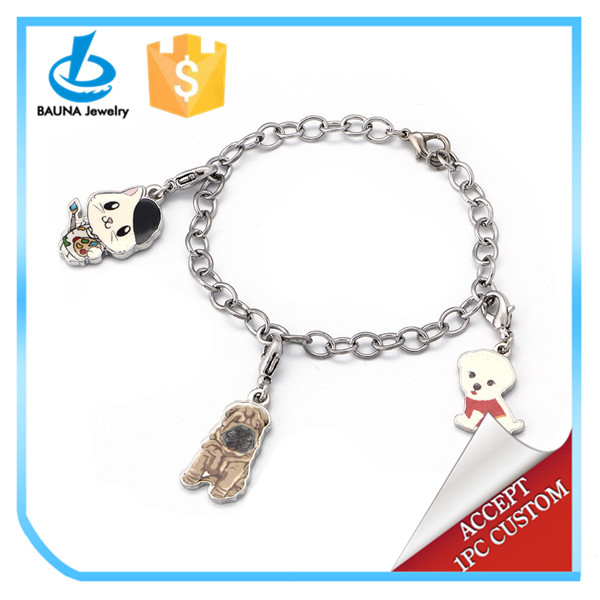 Best gift for children cute cat and dogs animal charms chain bracelet