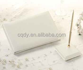 Western Plain Wedding Guest Book And Pen Set Ivory Or White Signature