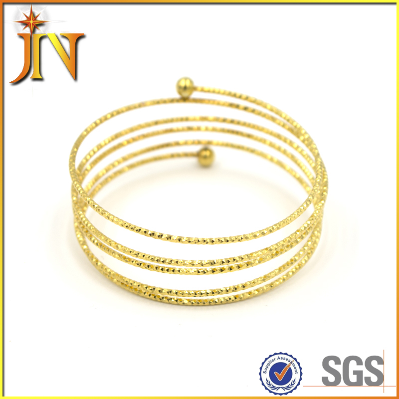 SZ0003 JN gold plated fancy multi layer screw indian bangles with beads 6 gram gold bangles designs for women