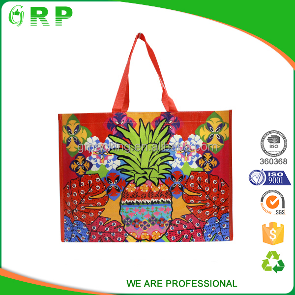 Colorful easy taking grocery packaging foldable reusable shopping bag