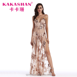 Sexy Sequin Transparent Both Sides Split Dress Gown See Through Party Wear Gowns For Ladies