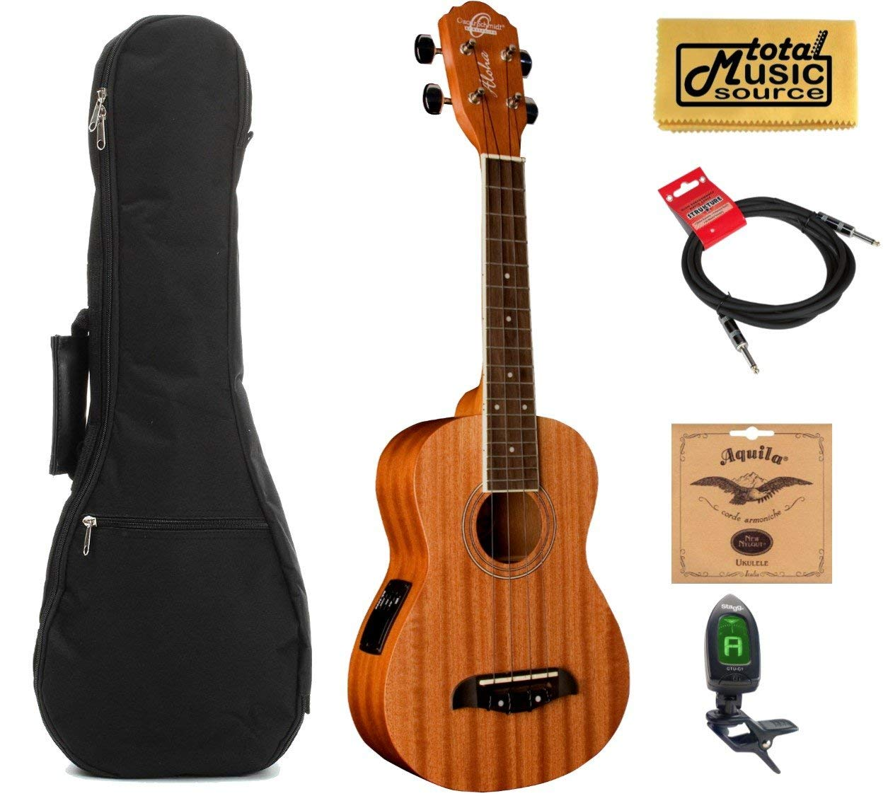 Oscar Schmidt Concert Active EQ, Acoustic Electric Ukulele, OU2E w/Padded Gigbag,Tuner,Strings,Book,Cable & PC