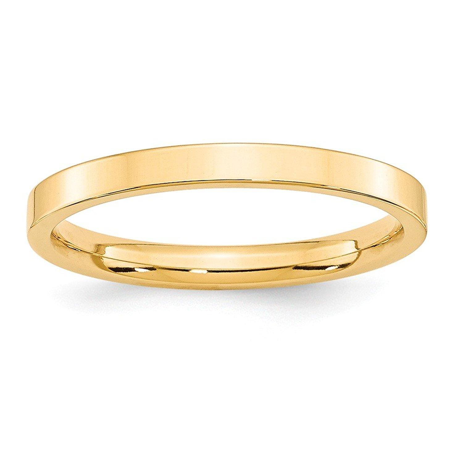 Best Designer Jewelry 14KY 2.5mm Standard Flat Comfort Fit Band Size 6