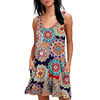 cheap women sexy v neck dress floral summer beach sleeveless polyester print short dress
