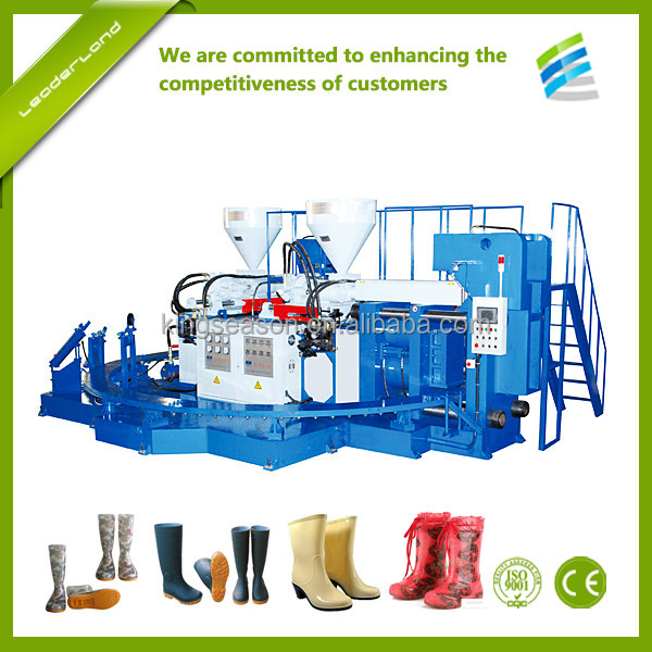 Full automatic factory price PVC three color rain boot injection moulding shoes machine
