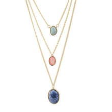 New Europe Style Three Layer Colorful Nature Stone Pendant Necklace