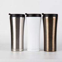 Free Sample BPA Free Customized Design 16oz Stainless Steel Thermal Auto Mug With Double Wall Inner 304 Outside Plastic
