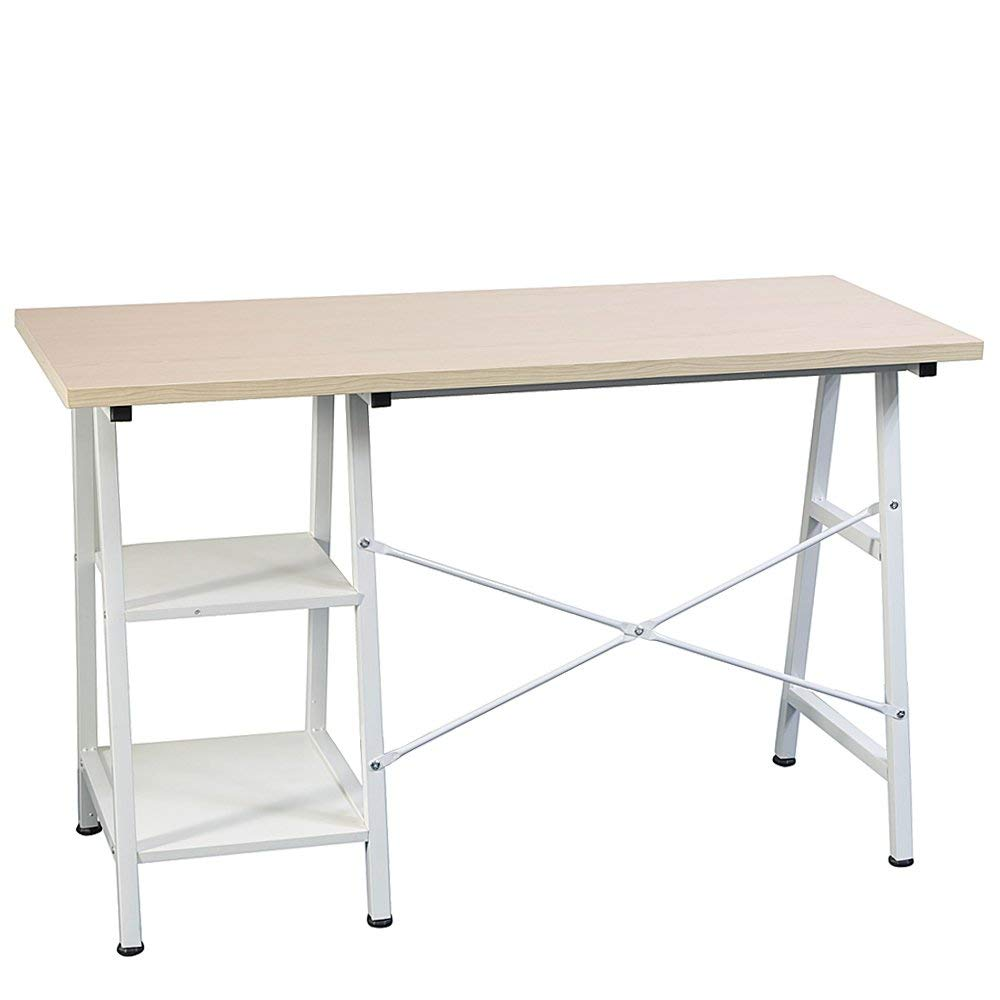 "FKUO Computer Desk,47"",Study Desk,Concise Wooden Computer Desk with Shelf Notebook Desk White Desk"