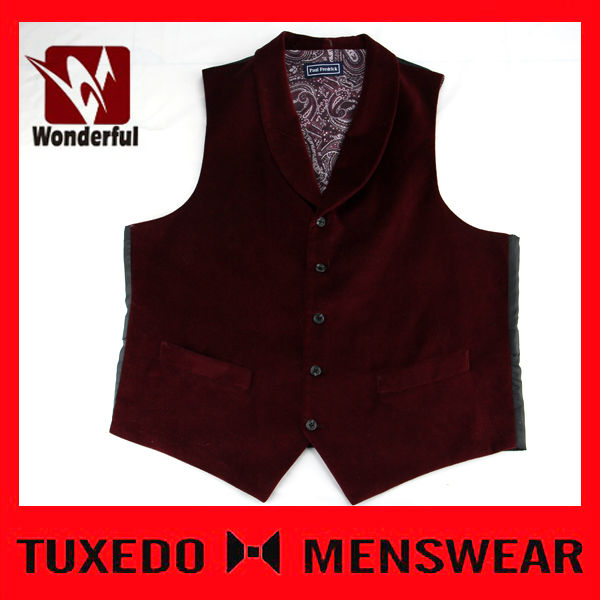 High Quality Satin Solid Red Mens Fitted Vests