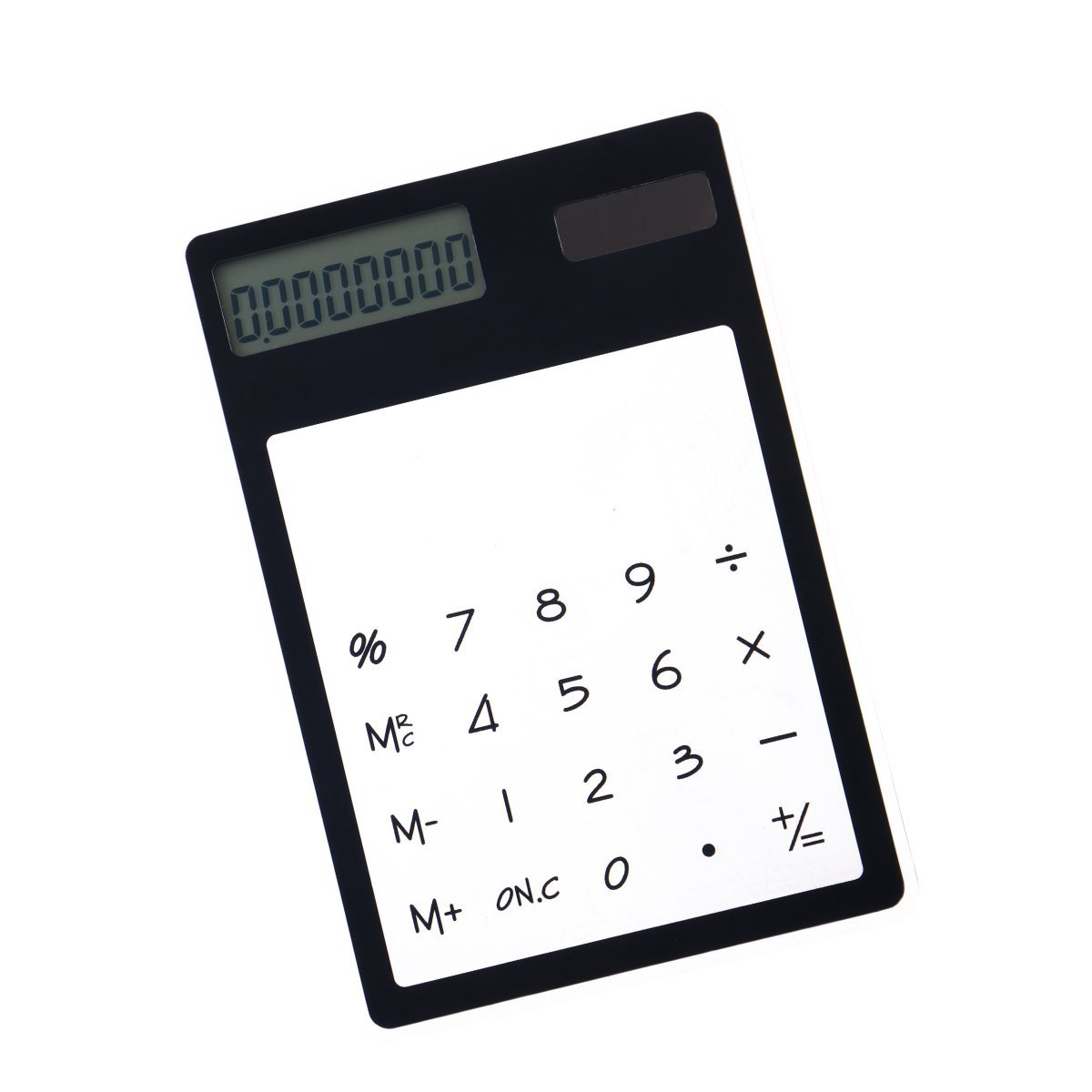 Frcolor Solar Powered Calculator Unique Transparent Touch Panel Design Small Calculator (Black)