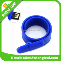 Blue Silicone Slap Bracelet Shaped USB Flash Drive