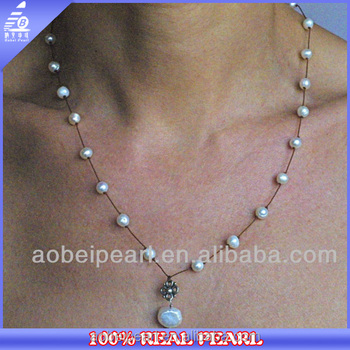 N Ab1128 New Necklace Designs Button Beaded Handmade Pearl Jewelry