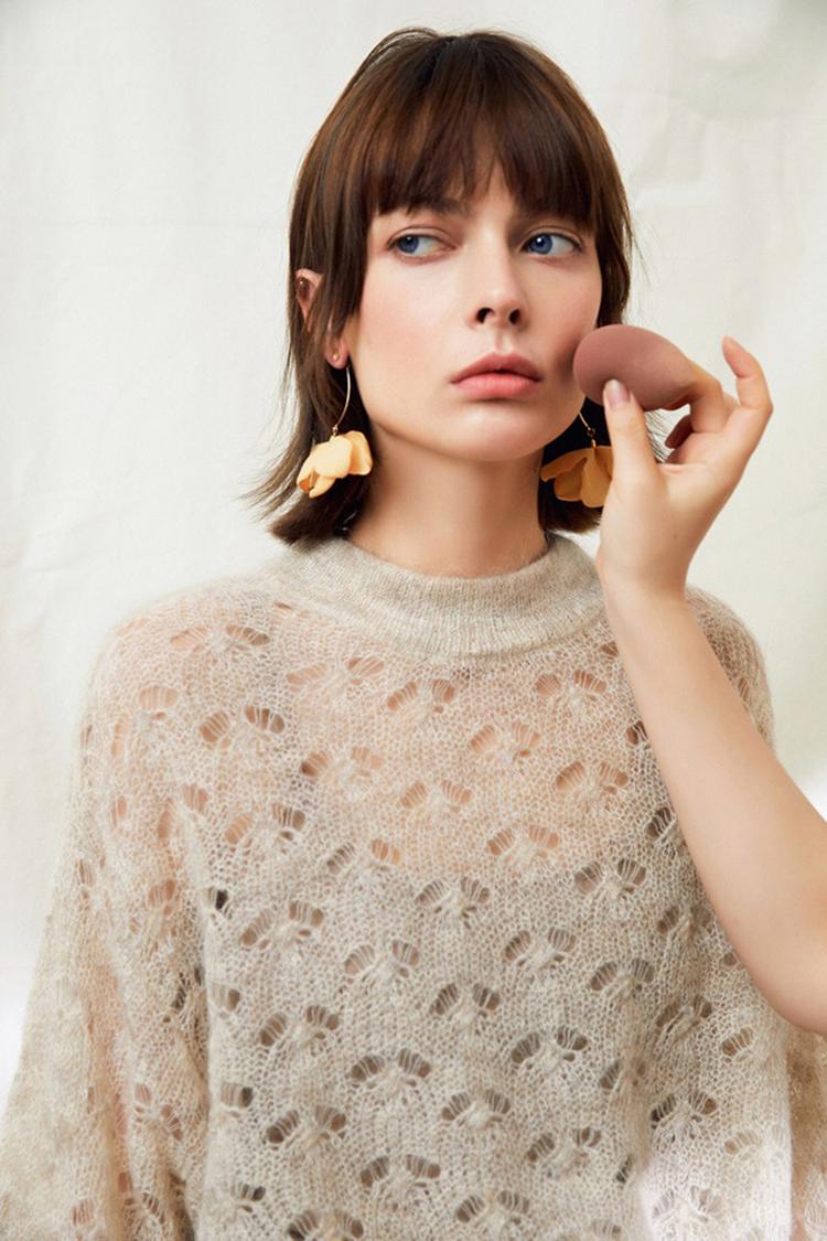 Openwork jacquard soft mohair knit lightweight custom 2 piece sweater sets knitwear tops with vest