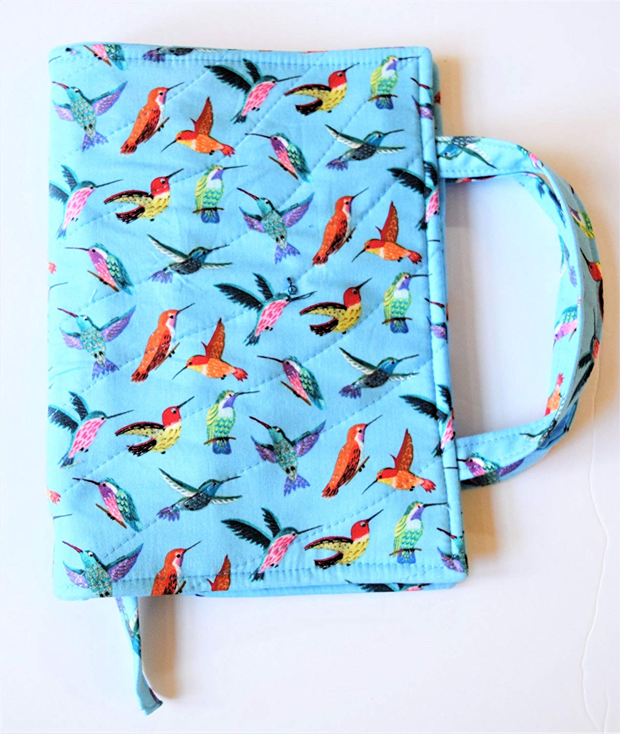 "Hummingbird Quilted Paperback Book Cover with Carry Strap Handles and Attached Bookmark,Fits up to 8.25"" x 5.5"" x 1.5"" Romance Book RTS"