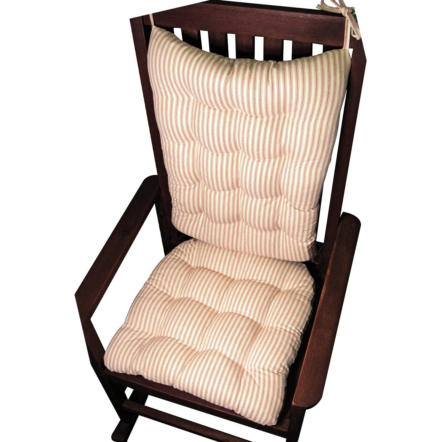 Genial Rocking Chair Cushion Set   Mag Ticking Stripe Red   Extra Large /  Presidential   Seat Cushion With Ties And Back Rest   Reversible, Latex  Foam Fill   Made ...