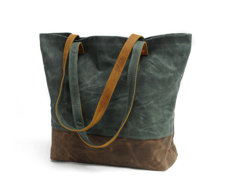 2017 fashion leisure vintage waxed eco-friendly canvas woman tote bag for shopping , simple design and big capacity