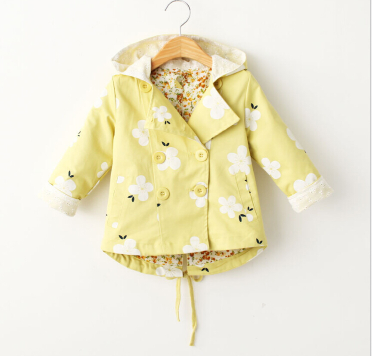 Autumn and winter Girls with hood led long sleeve printed flower trench coat