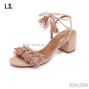 039f9a508e0 2017 Popular Low Heel Sandal Shoes Girls Block Heel Sandals Lace Up Fringe  Tassel Sandals - Buy 2017 Popular Low Heel Sandal Shoes,Girls Block Heel ...