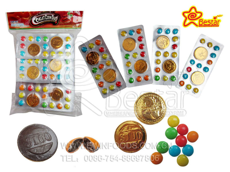 Gold Coin Chocolate with Chocolate Bean