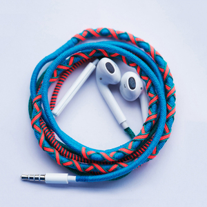 Braided cable headphone waterproof stereo earphone with packaging box