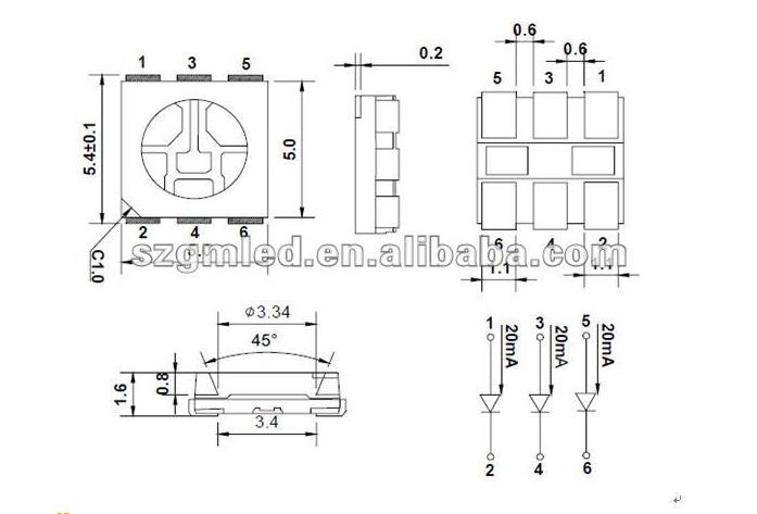 Led Bulb Components 0.2w Smd 5050 Led Rgb White Led Datasheet - Buy