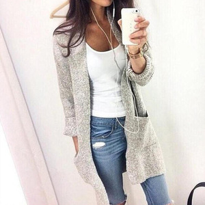 Hot Selling Cardigan Long Sleeves Big Pocket Knit Sweater Woman