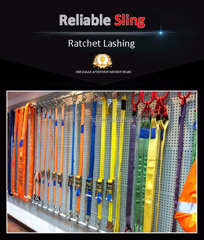 Heavy Duty J Hook Ratchet Lashing Belts for Cargo Control