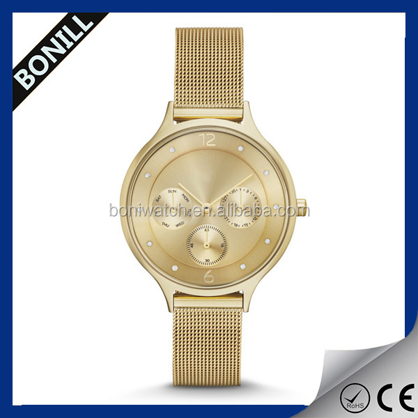 Your logo custom watches stainless steel mesh band,gold wrist watch