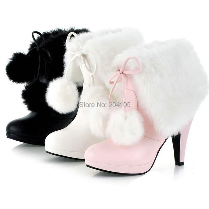 c450dd0e37 Get Quotations · New Winter Fashion Women's Fur Motorcycle Boots High Heel  Snow Boots Women Warm Boots White Pink