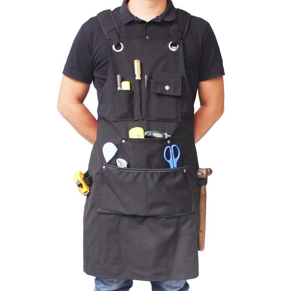Benail Durable Heavy Work Apron Waterproof Made From Heavy Duty Waxed Canvas With Pockets and Adjustable Straps up to XXL for Men & Women and 6 Pockets and 2 Strong Loops (Black)