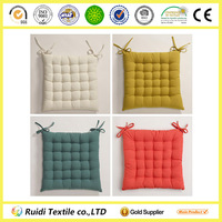 Plain Stype Colorful Yarn Dyed Chair Cushion With Ties Car Seat Cushion