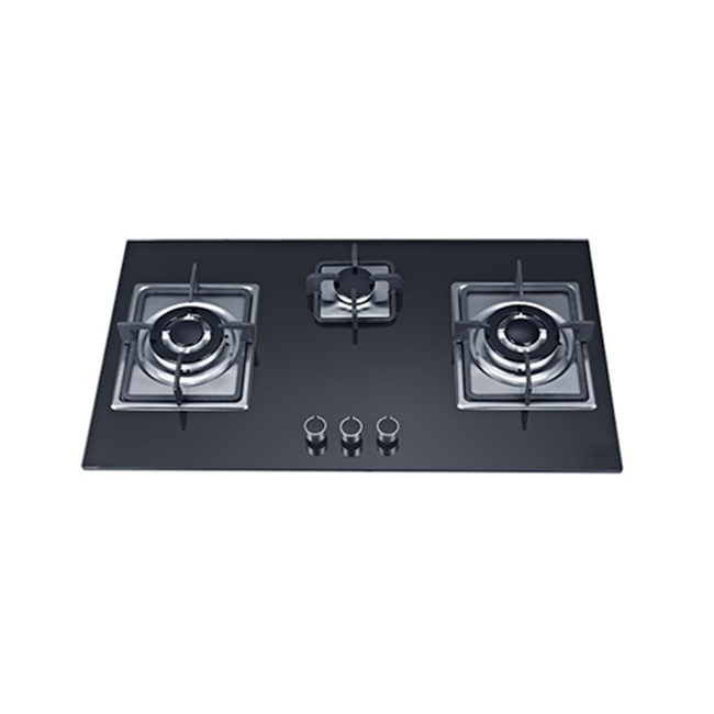 SG38802 Three Burner Black Front Control <strong>Gas</strong> On Glass Kitchen Hob