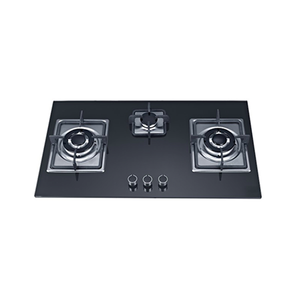 SG38802 Three Burner Black Front Control Gas On Glass Kitchen Hob