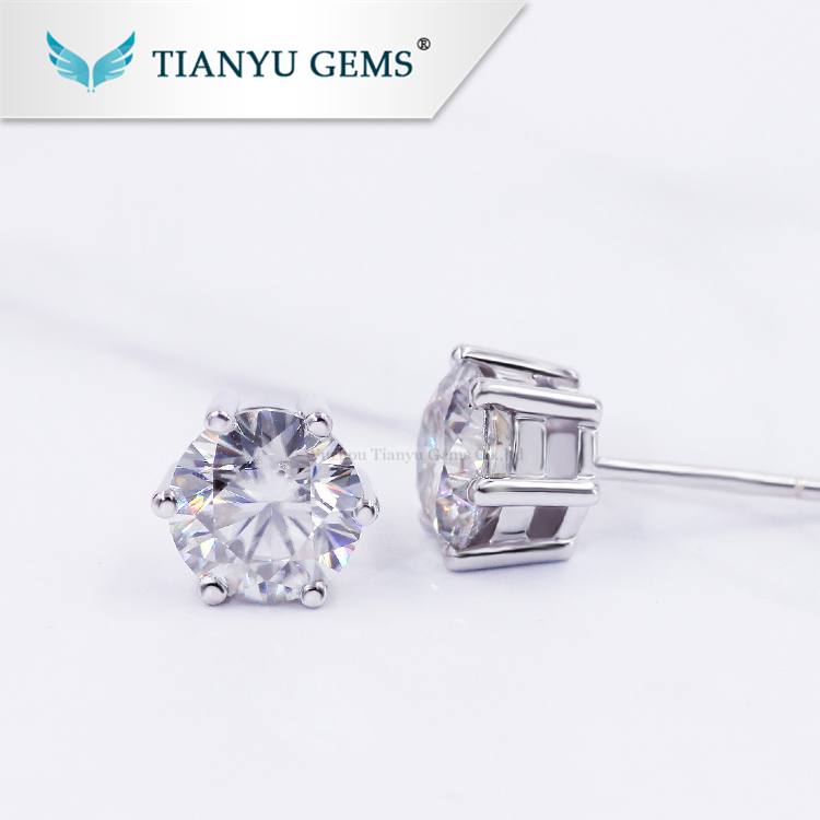 tianyu gems wholesale price 0.5 0.6 1.0ct 925 silver gold plated small moissanite stud earrings