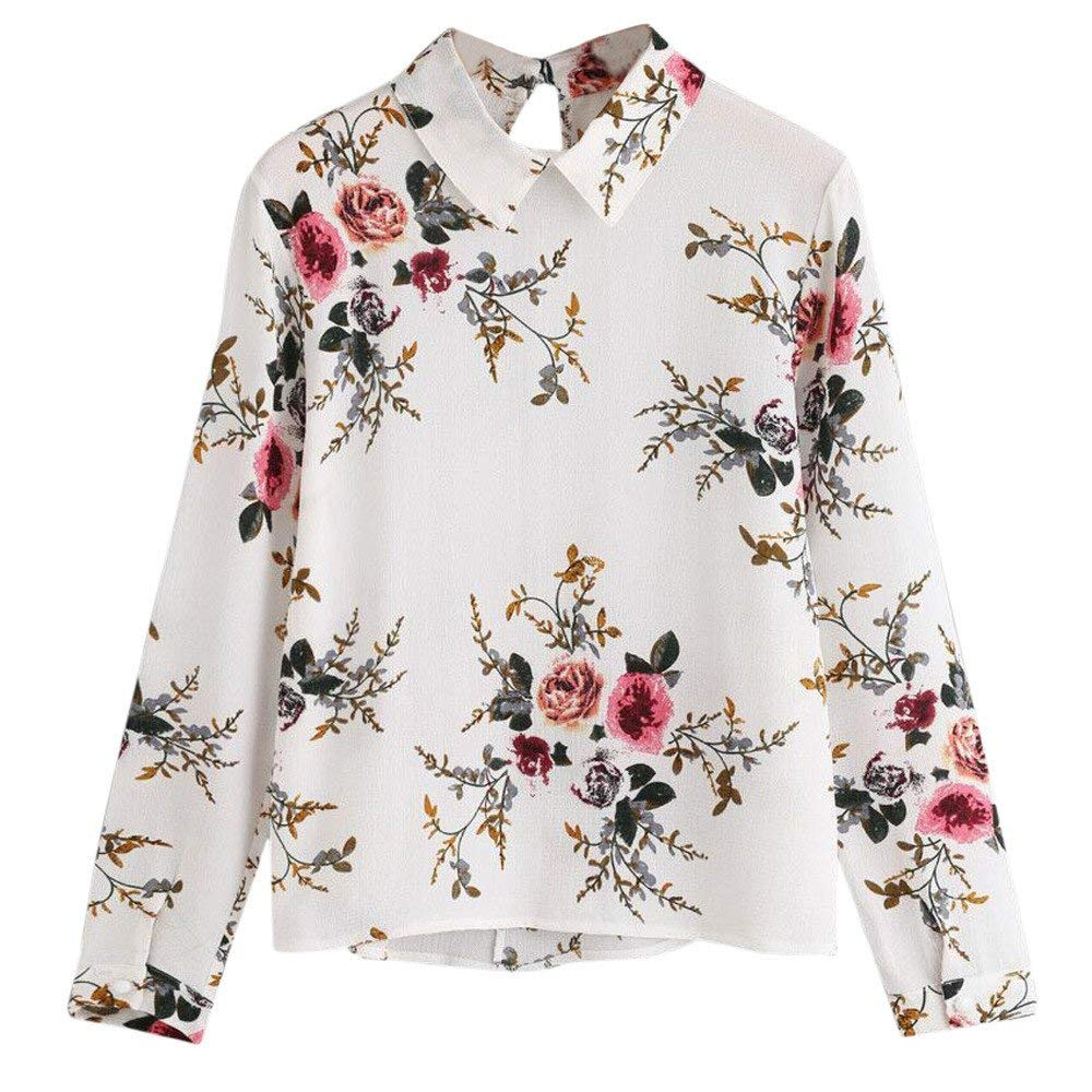 Jinjin Womens Blouse, Womens Fashion Floral Print Lapel Blouse Tops Casual Long Sleeve T-Shirt