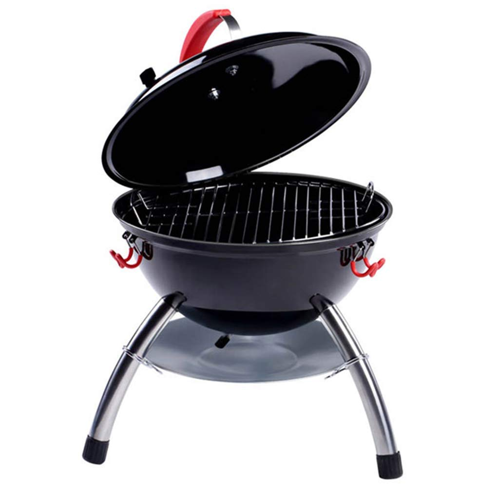 Charcoal Grills Grill Grill Garden Grill Outdoor Villa Oven Grill Round Large Capacity, Mobile (Color : Black, Size : 383850cm)