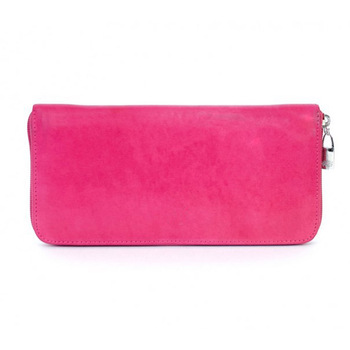 c1f95520733 Fancy fuchsia ladies hand pouch genuine leather wallet, cowhide young girl  pocket wallets zip around