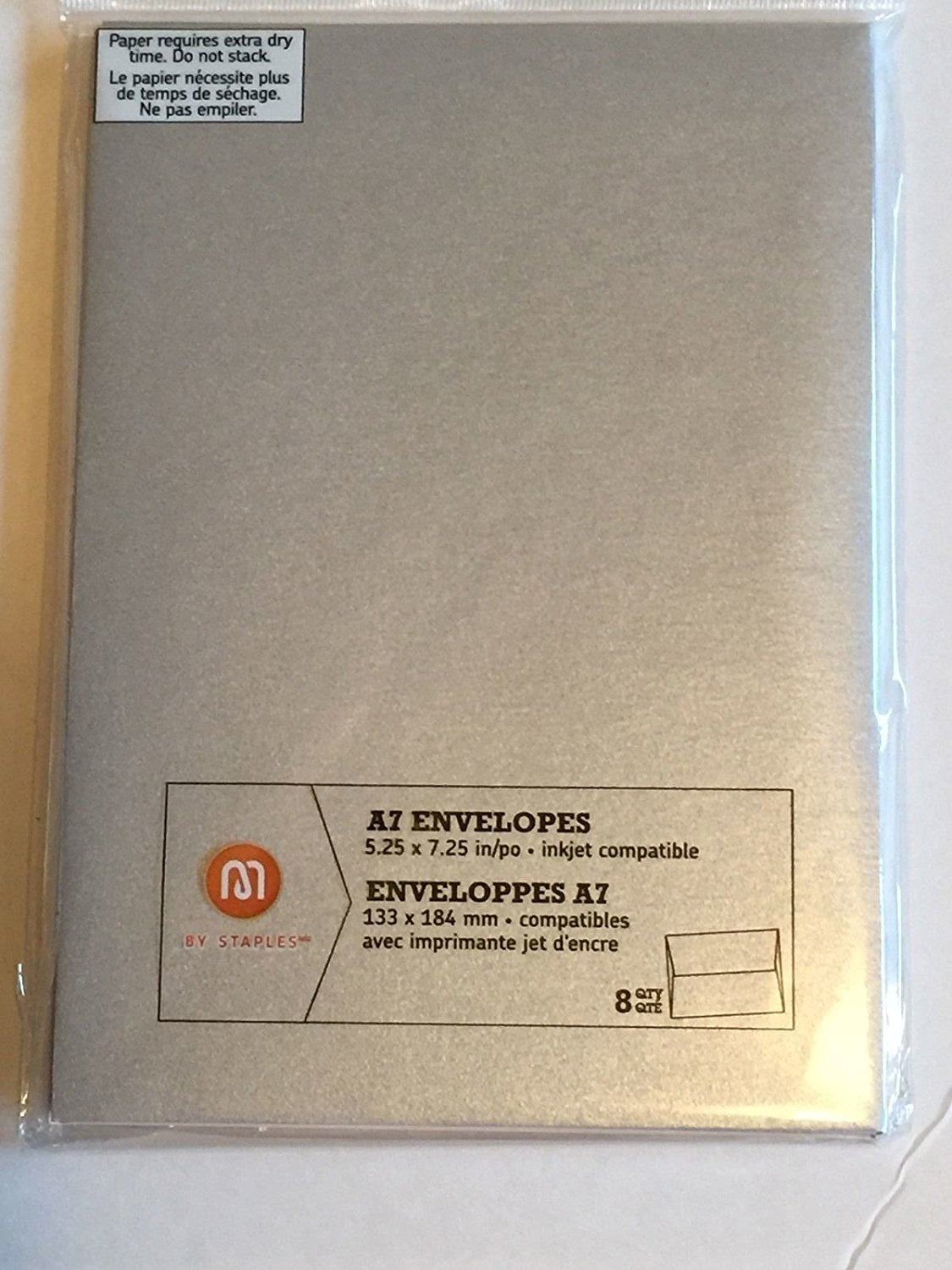 """M by Staples A7 Envelopes Silver 5.25"""" x 7.25""""- 8 Count"""