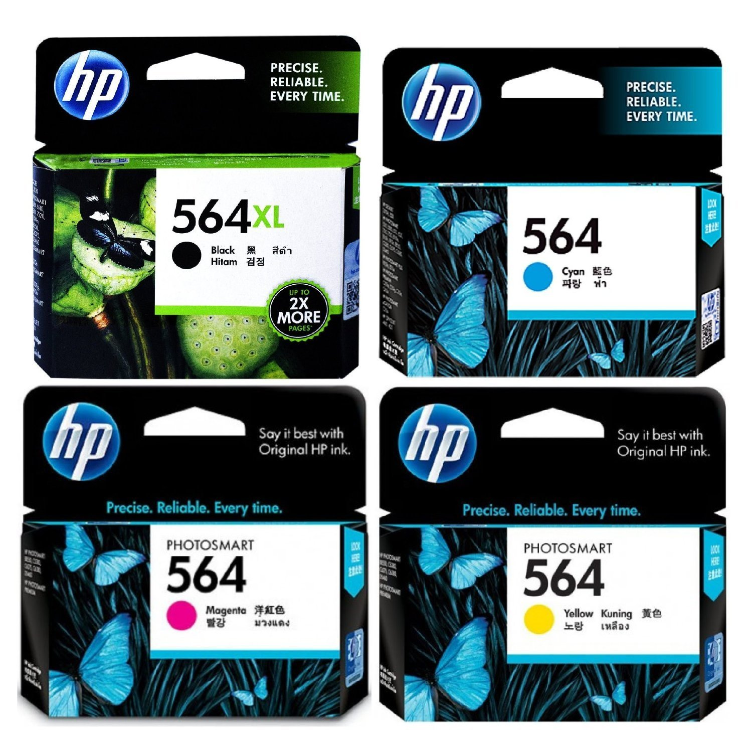 HP 564XL (CN684WN#140) Black + HP 564 (CD994FN#140) Cyan/Magenta/Yellow Color Combo Pack OEM Genuine Inkjet/Ink Cartridge