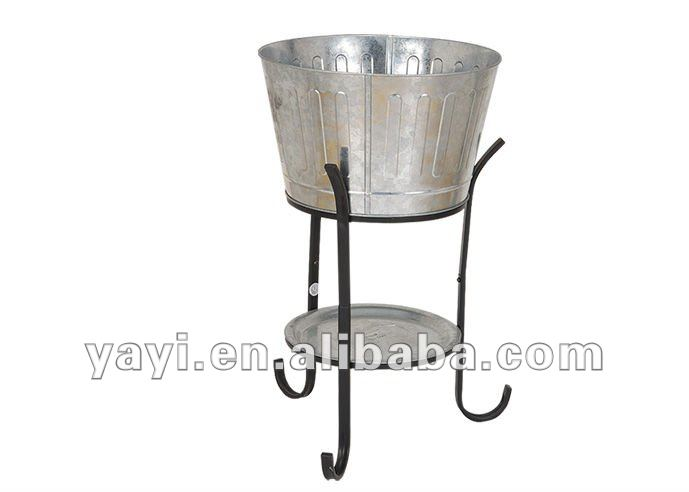 Galvanized metal beverage tub with stand